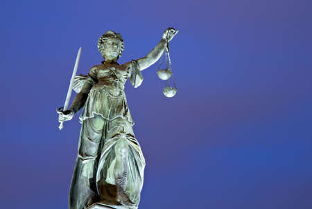 Illuminated Lady Justice,  Roemerberg, Frankfurt, Germany Stock Photo - 11567035
