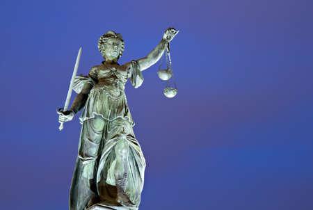 roemerberg: Illuminated Lady Justice,  Roemerberg, Frankfurt, Germany