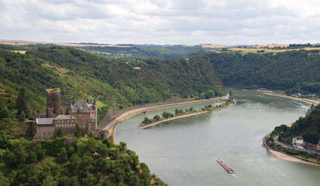 Burg Katz - Cat Castle with Lorelei rock in the Rhineland-Palatinate, St. Goarshausen, Germany
