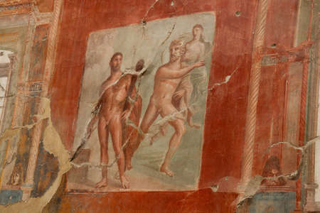 Ancient roman painting in Pompeii, Campania, Italy