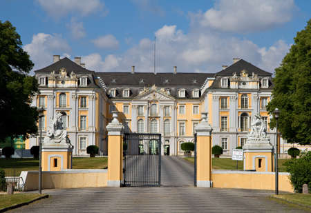 Main Entrance of Baroque Augustusburg Palace - World Heritage Site, Bruehl, Germany Stok Fotoğraf