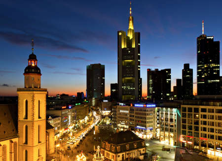 Frankfurt skyline at dusk near Hauptwache, Hessen, Germany
