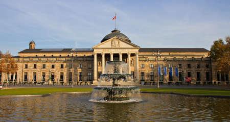 hessen: Kurhaus - Casino of Wiesbaden with fountain, Hessen, Germany
