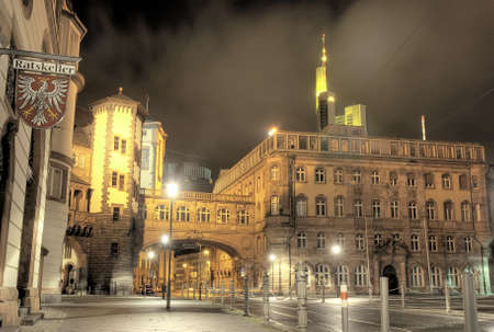 North Wing of City Hall Roemer at night, Frankfurt