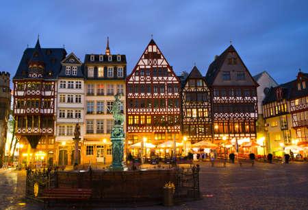 roemer: Historic Centre of Frankfurt at Twilight, Hessen, Germany Editorial