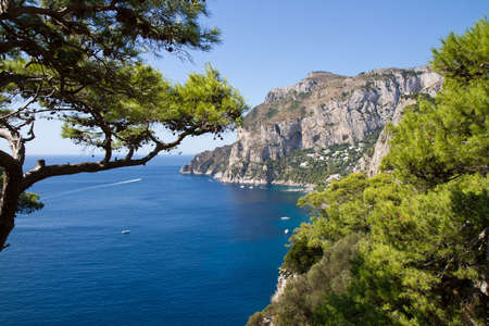 View of Marina Piccola on the South coast of Capri, Campania, Italy Stok Fotoğraf