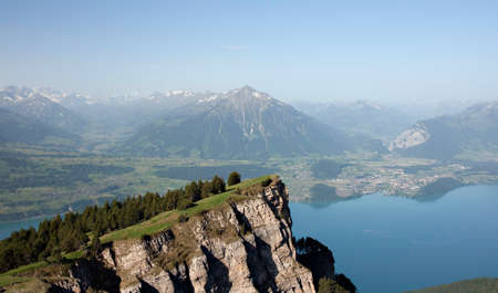 Panorama of Lake Thun and Bernese Alps, Lookount Niederhorn, Switzerland Stock Photo - 11802790