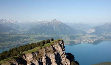 Panorama of Lake Thun and Bernese Alps, Lookount Niederhorn, Switzerland Stock Photo - 11802790
