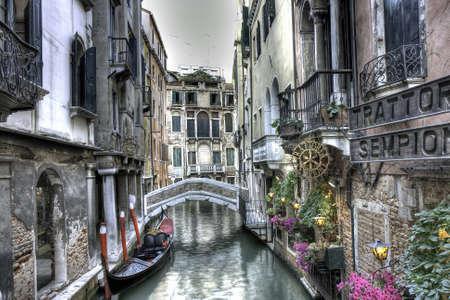 Small bridge, gondola and Palazzi, Venice, Italy Editorial