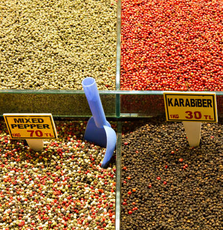 Pepper and Spices at the Great Bazaar, Istanbul, Turkey