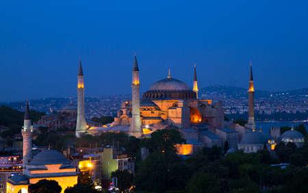 sophia: Illuminated Hagia Sophia at twilight, Istanbul, Turkey Stock Photo