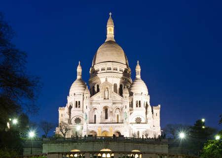 sacre: Sacre Coeur during twilight, Paris, France Stock Photo