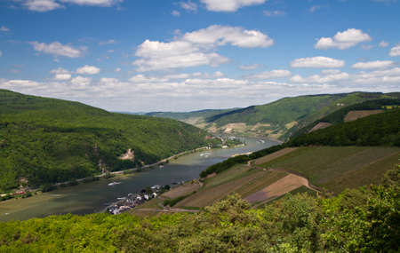 rhein: Panorama of the Rhine Valley from the Rittersaal lookout, Hessen, Germany
