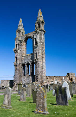 andrews: Ruin of St  Andrews cathedral under a blue sjy, Scotland