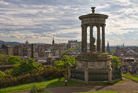 Cityscape of Edinburgh as seen from Calton hill, Scotland, Europe