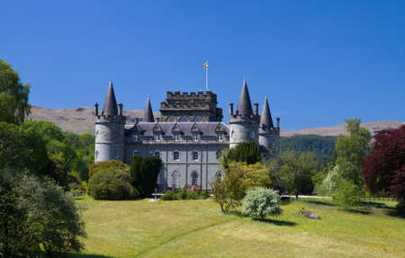 Inverarary Castle under a blue sky, Scotland