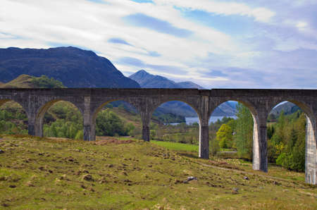 jacobite: Glenfinnan aqueduct at Loch Shiel, Scotland, United Kingdom