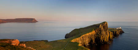 Panorama of Neist Liighthouse at sunset, Isle of Skye, Scotland photo