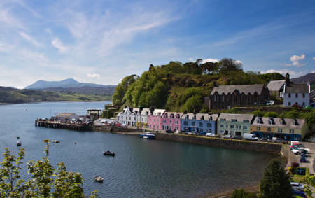 Old Harbor of Portree, Isle of Skye, Scotland, United Kingdom Standard-Bild