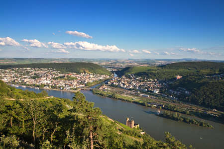 Lookout Rossel - Viewpoint of the Rhine Valley, Ruedesheim, Germany Stok Fotoğraf