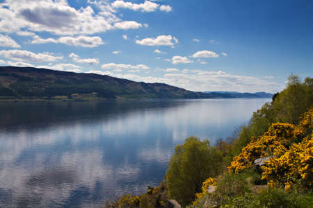 Lookout over Loch Ness with refelctions of clouds, Scotland