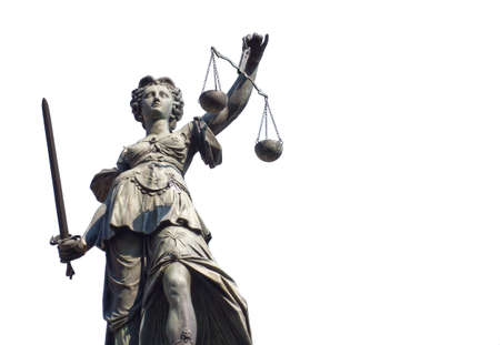 Justitia isolated on a white background, Frankfurt, Germany Standard-Bild