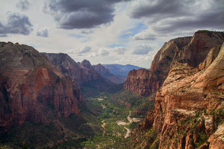 Panorama of the Zion Ntional Park as seen  from Angels Landing, Utah Stock Photo