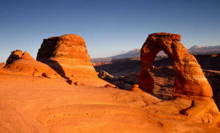 Panorama of Delicate Arch at sunset, Arches National Park  Utah, USA photo