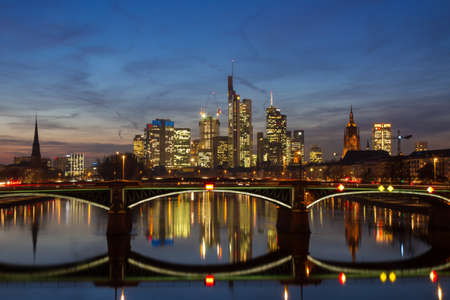 Panorama of Frankfurt at twilight, Hessen, Germany