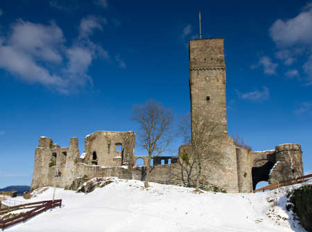 Ruin of Castle Koenigstein in the winter, Koenigstein, Hessen, Germany