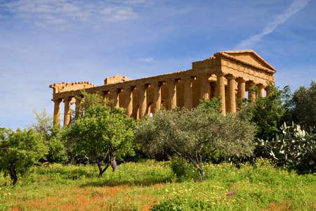 Greek Temple of Concordia, Agrigento, Sicily, Italy Stock Photo