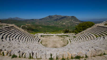 segesta: Ruins of the Greek Theater in Segesta, Sicily, Italy
