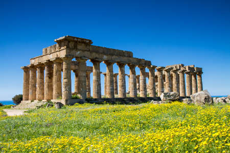 Greek Temple at Selinunte in spring, Sicily, Italy photo