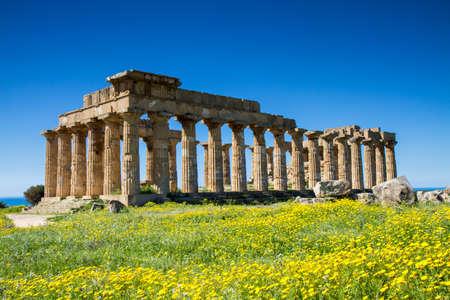 tempio greco: Tempio greco di Selinunte in primavera, Sicilia, Italia