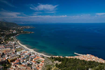 Panorama of the sicilian coastline near Cefalu, Sicily, Italy Imagens