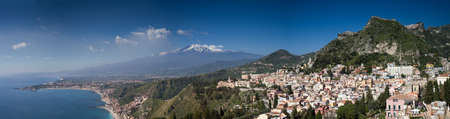 Panorama of the Etna volcano and Taormina, Sicily, Italy