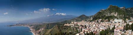 Panorama of the Etna volcano and Taormina, Sicily, Italy