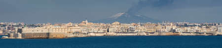 Cityscape of Sycracuse with Etna in the background, Sicily, Italy