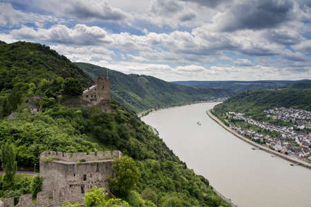 Panorama of the Rhine River Valley with Castle Liebenstein, Germany photo