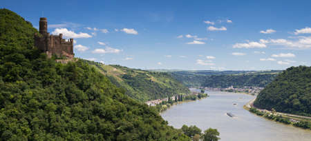 Panorama of the Rhine River Valley with Castle Maus, Germany photo