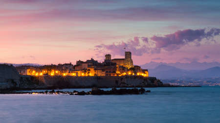 Cityscape of Antibes at sunset, Provence, France