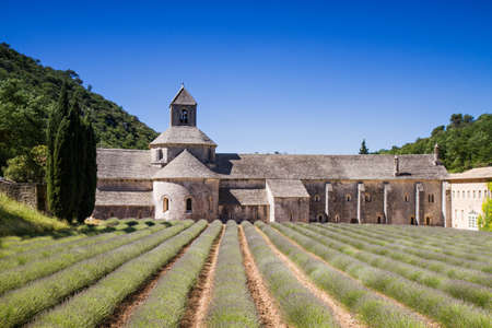Monastery of Senanque within lavender fields, Provence, France Stok Fotoğraf