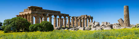 Panorama of the ancient greek Temple District, Selinunte, Sicily, Italy