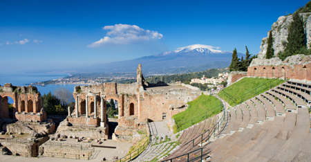Ruins of the Greek Theater, Taormina, Sicily, Italy photo