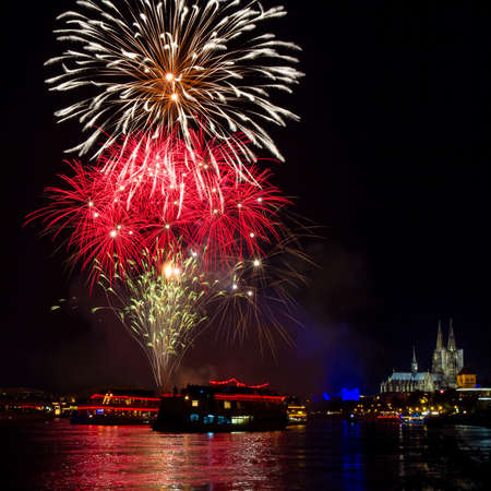 Firework over Cologne with the cathedral, Germany photo