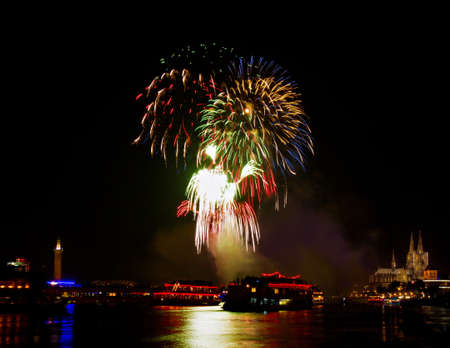 Colorful Firework over Cologne, Germany