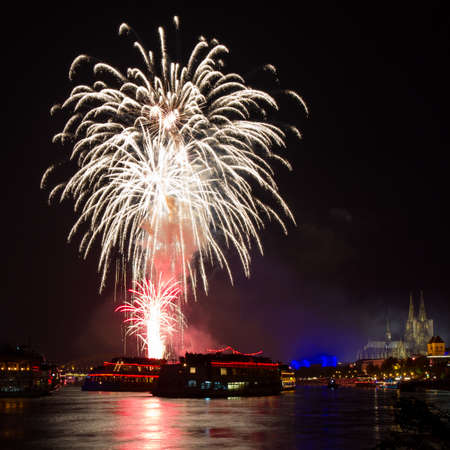 Firework over the Rhine River, Cologne, Germany photo