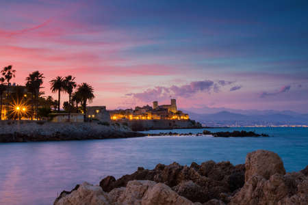 Seascape of Antibes at Sunset, Provence, France photo