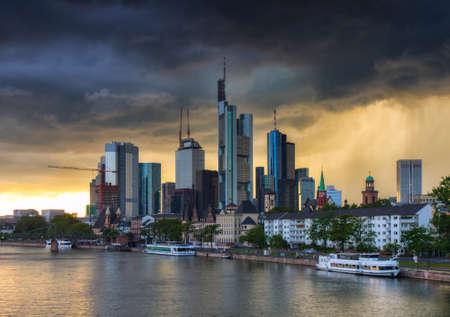 hessen: Thunderstorm over the skyline of Frankfurt, Hessen, Germany