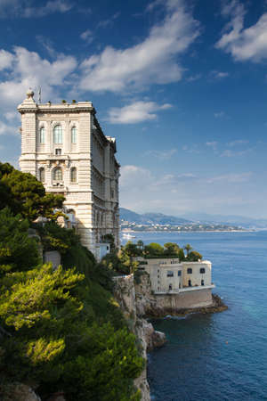 oceanographic: Coastline of Monaco overlooked by the Oceanographic Museum, Monaco